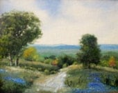 ORIGINAL Landscape Oil Painting - Road with Oak Trees