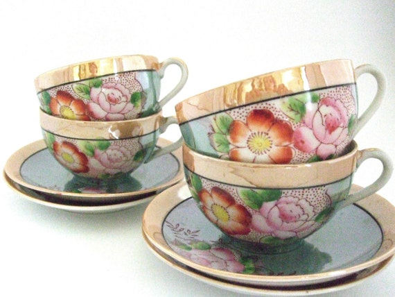 Reserve for Rachel Japanese  Tea Cups and Saucers Lustreware Hand Painted