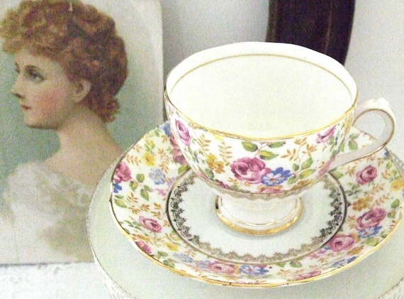 Teacup and Saucer Made By Roslyn of England Fine Bone China Floral Vintage