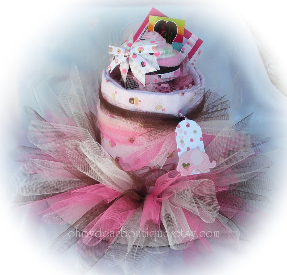 items similar to baby shower diaper cake tutu diaper cake pink and