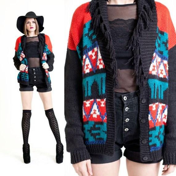 Turquiose Knit Southwestern Fringe Cardigan Sweater