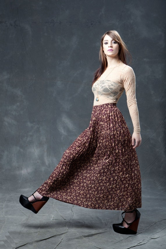 Vintage Maroon Floral Pleated Sheer Maxi Skirt