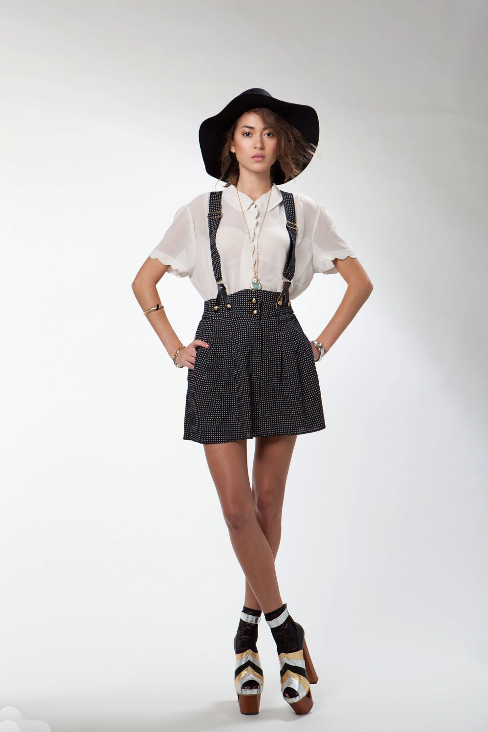 vintage high waist suspender mini skirt