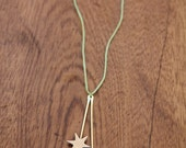 Celestial Necklace / / Vintage pendant on silk chord and chain