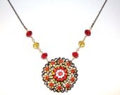Recycled Vintage Brooch Beaded Necklace