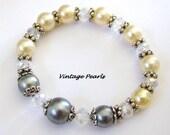 Antique Pearl & Swavorski Crystal Bead Bracelet