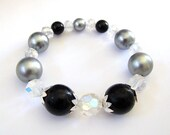 Black & Silver Beaded Stretch Bracelet Made With Vintage Beads