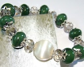 Clearance Sale...Jade & Vintage Bead Stretch Bracelet
