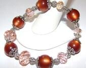 Recycled Vintage Copper Moonstone Beaded Stretch Bracelet