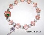Handmade Swarovski Stretch Bracelet w/ Silver Key Charm