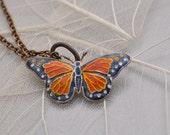 cloisonné monarch butterfly necklace
