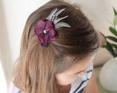 Flower and Feathers - Headband or Hair Clip - baby and newborn photo prop - burgundy bloom with feathers and a pearl center
