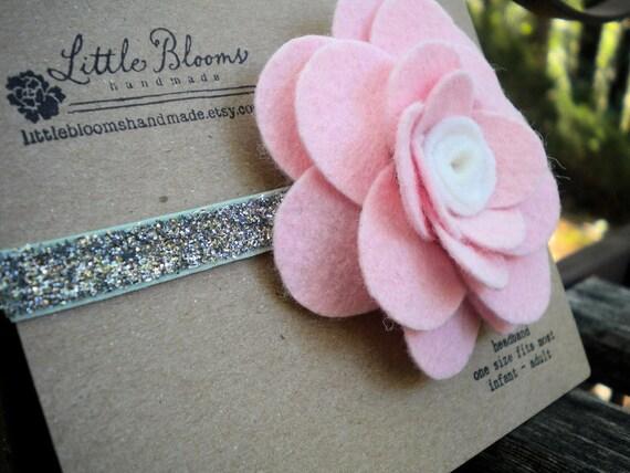 Pink Felt Flower Headband - pink and white wool felt bloom on a silver glitter elastic headband