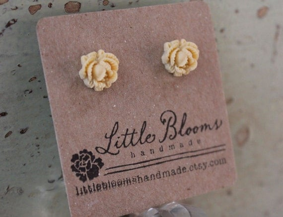Flower Earrings - vanilla rosebud cabochons - surgical stainless steel posts
