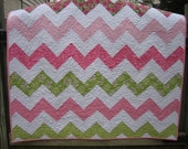 Chevron or Zig Zag Quilt in Pinks and Greens