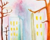 Umbrella man under a city sky