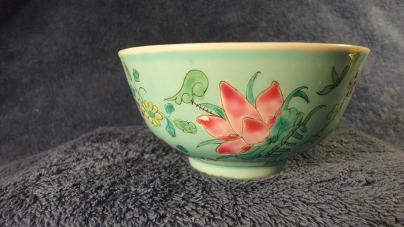 Vintage Hand Painted Asian Oriental Rice Bowl