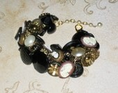 Victorian button bracelet with vintage pearl cameo black gold glass buttons