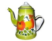 Vintage enamel stenciled coffee pot - lime green with orange and yellow apples or tomato