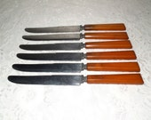 Bakelite dinner knives marked Made in USA Boker Stainless Steel