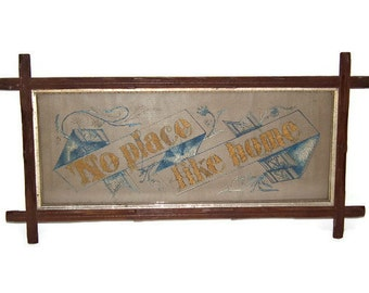 Victorian punched paper embroidery motto sampler - No Place Like Home - blue and yellow