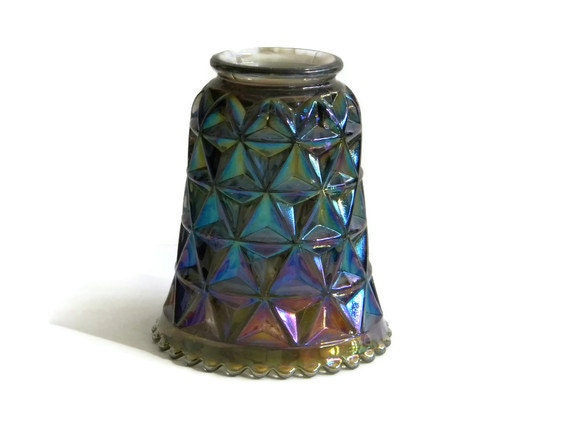 Quilted carnival glass lamp light shade - purple green blue iridescent