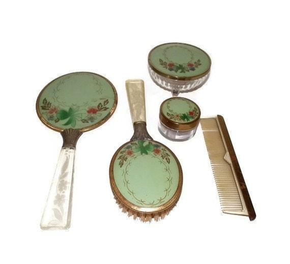 Dresser set or vanity set with mirror, brush, two dresser jars and comb