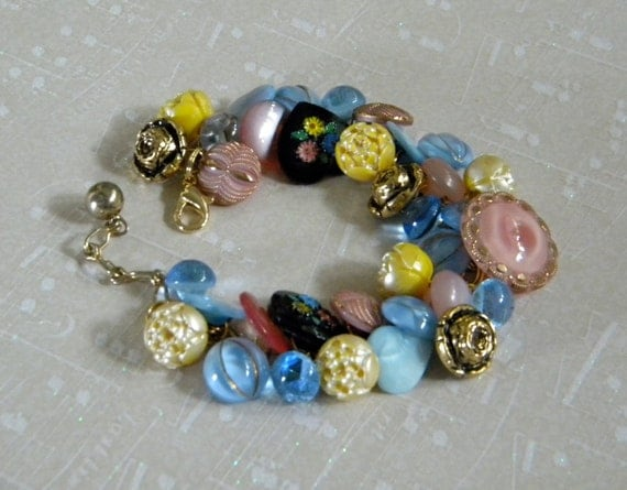 Vintage button bracelet glass, metal and plastic buttons in pink, yellow, blue and black hearts and flowers
