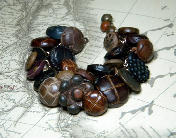 Vintage button bracelet leather and metal buttons tan and brown