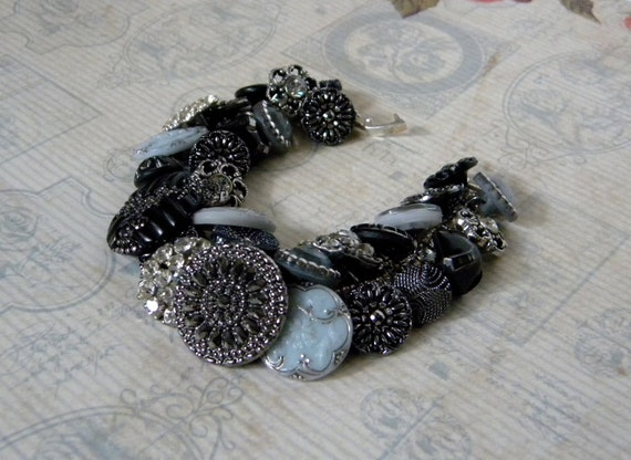 Vintage button bracelet - black, gray and silver - glass and rhinestone