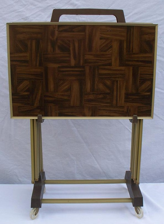 Faux Wood Parquet Tv Tray Set In Stand By The2ndtimearound
