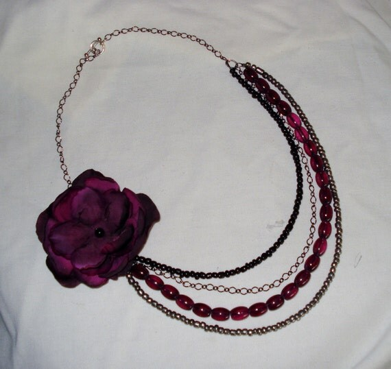 RESERVED Kelly- Purple Flower with four strands