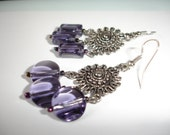 VIOLET SILVER Chandlier Earrings Mothers Day Shabby Wedding Country Chic....by Spirit Designs by KC