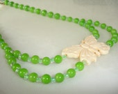 AUGUST BIRTHDAY Necklace Peridot Green Beads Shabby Chic Country Chic....by Spirit Designs by KC