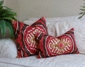 Decorative Pillow Cover -  Home Decor Designer Fabric - SAME Fabric Both Sides - Red, Gold, Brown - Ikat - Accent Pillow - Throw Pillow