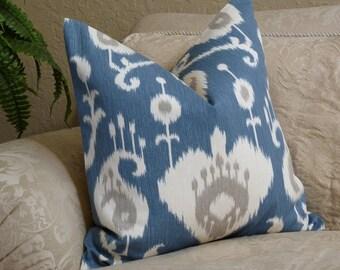 Ikat Pillow Cover -  Home Decor Designer Fabric - SAME Both Sides -Blue/Cream - Accent Pillow - Throw Pillow