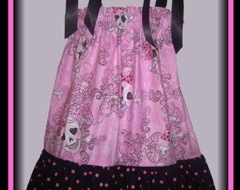 Halloween Skulls Crossbones Pink Boutique Pillowcase Dress w/ Black and Pink Polka Dots Layer