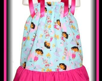 Dora The Explorer Boots Blue Boutique Pillowcase Dress w/ Magenta Solid Layer