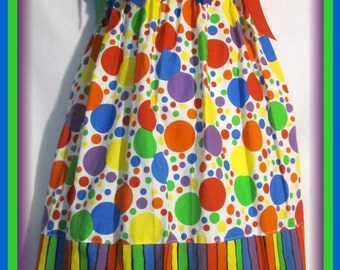 Clown Polka Dots Boutique Pillowcase Dress w/ Colorful Striped Layer