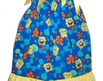 Blue Nickelodeon Spongebob Squarepants Boutique Pillowcase Dress w/ Solid Yellow Layer