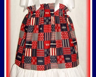 Patriotic USA Boutique Pillowcase Dress w/ Solid White Layer