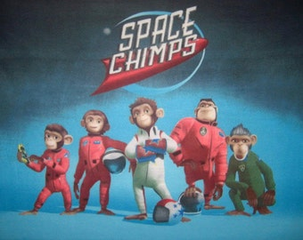 CLEARANCE SALE Space Chimps Fleece Panel Throw Blanket or Wall Hanging