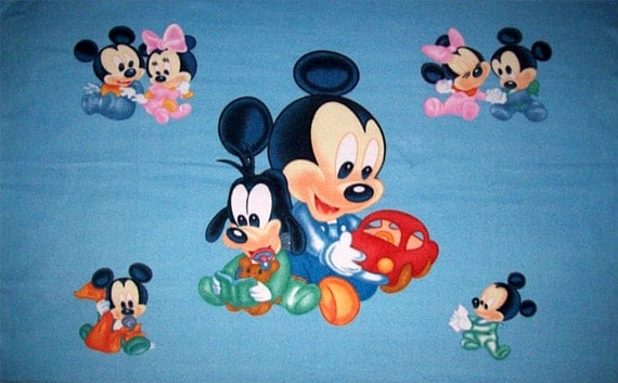 Disney Mickey Minnie Mouse Amp Goofy Baby Blue Fleece Panel