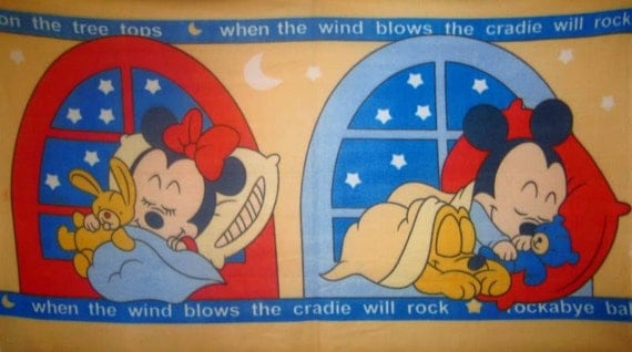 CLEARANCE Disney Baby Mickey Minnie Mouse Fleece Panel Throw Blanket or Wall Hanging
