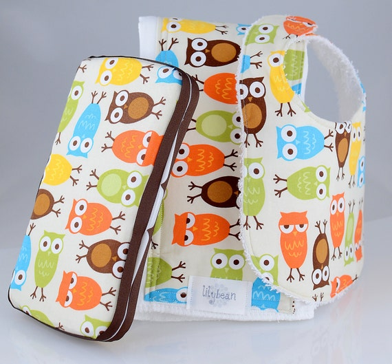 FREE SHIPPING- Travel Baby Diaper Wipes Case, Burp Cloth and Bib Set- Owls in Bermuda