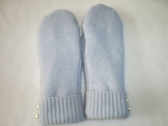 Recycled Wool Mittens from Felted Sweaters, Fleece Lined -Women's  Ice Blue with Pearled Buttons at cuff