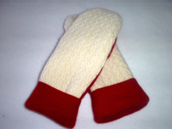 Recycled  Mittens from Felted Cashmere Sweaters, Fleece Lined -Women's Red and Cream 100% Cashmere with Fleece Lining - FREE SHIPPING