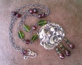 Poppies - Art Nouveau inspired fine silver necklace with garnet, czech glass and tourmaline