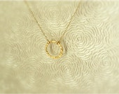 Sale Eternity-Gold Round Hammered Necklace- 14K Gold filled Chain