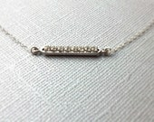 Silver Horizontal Bar Necklace With CZ's, Sterling Silver Necklace, Birthday Gift